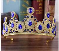 Royal Blue Crystal Rhinestone Bridal Tiara Princess Pearls Crown Prom Headband