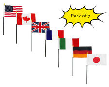 """Set of 7 Country USA Canada UK France Italy Germany Plain Japan 4""""x6"""" Desk Flags"""