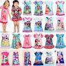 Girls Kids Baby Princess Moana Elsa Nightdress Pajamas Nightwear Nightie Dress