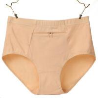 Briefs Women Soft Cotton Underwear With Zipper Pocket Solid Comfortable Panties