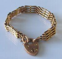 9ct Gold Bracelet - Vintage 9ct Rose Gold Four Gate Bracelet & Safety Chain