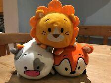 """BUN BUN 7"""" STACKING PLUSH TOYS SET OF 3 BUN-DLE ! LION FOX COW SOFT TOYS RARE!"""