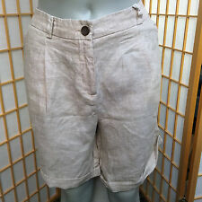 Jones New York Beige Signature  Linen Pleated Chino Dress Shorts Womens Size 12