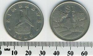 Zimbabwe 1980 - 1 Dollar Copper-Nickel Coin - Bird Statue - Zimbabwe Ruins