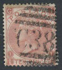 """GB utilizzati in Perù Z51 1867 10D red-brown, IG, belle utilizzato con """"C38"""" di Callao."""