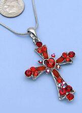 Red Cross Design Crystal Rhinestone Necklace Pendant