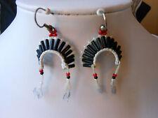 Native Inspired Handmade EARRINGS Traditional Beaded HEADDRESS Hook Vtg. 90's