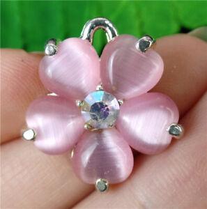 20x5mm Alloy Inlay Rose Cat Eye Gemstone Flower Pendant Bead AP73973