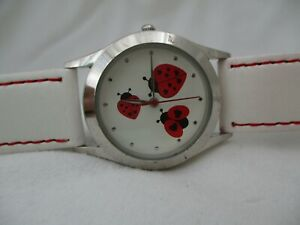 Ladybug Watch, White Buckle Band, WORKING!