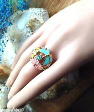 Filigree Floral Butterfly Globe Ring Vintage Unusual Gift For Her Adjustable