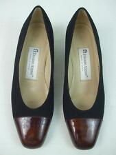 "Etienne Aigner Shoes Pumps Black Fabric Upper Bronze Patent Toes 1.5"" Heels 6 M"