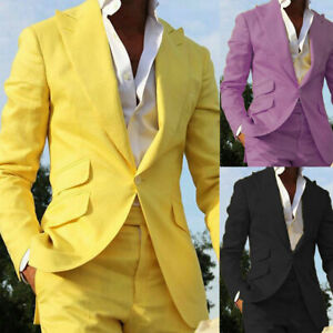 Botong Mens Yellow Jacket White Pants Wedding Suits 2 Pieces Men Suits Groom Tuxedos Party Suits