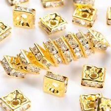 100x Golden Metal Color White Square Nickel Free Rhinestone Spacer Beads 6x6x3mm