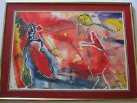 VINTAGE SURREALISM PAINTING EXPRESSIONIST ABSTRACT MODERNIST   SIGNED BYERS