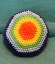"""12"""" hand knitted round pillow in Chakra colors. Pattern on both sides. New"""