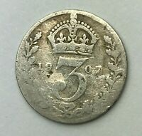 Dated : 1907 - Silver Coin - Threepence - 3d - King Edward VII - Great Britain