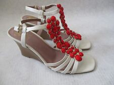 VINCE CAMUTO LEATHER WHITE ORLOV/RED JEWELED WEDGE SHOES SIZE 8 M - NEW W BOX