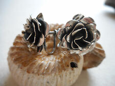 Vintage Sterling Silver Sculptured Rose Flower Screw On Earrings  RE4845