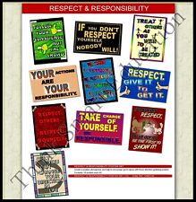 RESPECT & RESPONSIBILITY BEHAVIOUR SKILL SCHOOL EDUCATIONAL POSTER SET 10 A3 SZE