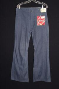 "VINTAGE 1960'S SEAFARER BRAND DEADSTOCK BLUE DENIM UTILITY PANTS 33"" WAIST"
