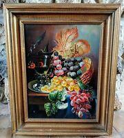 Antique Vtg Oil Painting Still Life Fruit Grapes Signed Gold Frame O/C Art