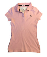 Abercrombie & Fitch Women's Polo T Shirt Pink Short Sleeve Medium Cotton Blend