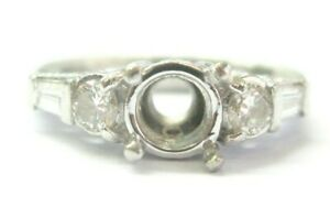 Round & Baguette Diamond Semi Mount Ring Platinum .54Ct ( 6mm Round )