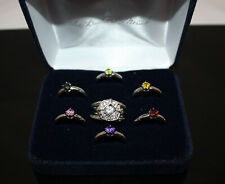 The Danbury Mint 8 Piece Interchangeable Ring Set ~ Size 8.5 ~ In Original Box