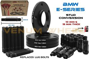 BMW Black Racing Stud Conversion Kit 12x1.5 With 5x120 10mm & 15mm Wheel Spacers