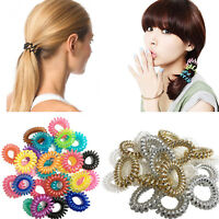 10 Spiral Hair Bobbles Elastic Coil Ponytail Wire Ties Stretchy Bands Holder Tie