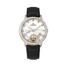 Empress Quinn Women's MOP Crystal Semi-Skeleton Black Leather Watch EM2704