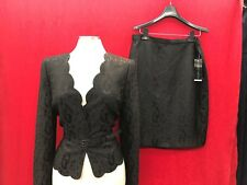 ALBERT NIPON SKIRT SUIT/SIZE 10/NEW WITH TAG/RETAIL$280/LINED/BLACK JAQUARD