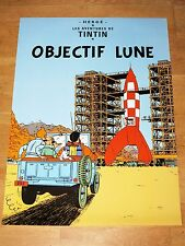 TINTIN POSTER EXTRA LARGE - OBJECTIF LUNE / DESTINATION MOON - 93 x 67 cm MINT