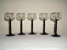 5 Cristal D'Arque Luminarc Black Stem Wine Goblets - FRANCE