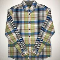 Woolrich Men's Flannel Long Sleeve Button Green Plaid Shirt Size Medium