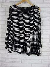 THREADZ AUSTRALIA Knit Top/Jumper Sz M, 12 Black, Silver Print Shoulder Cut Out