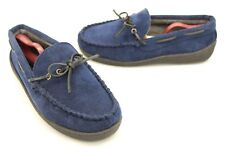 Brooks Brothers Men's Moccasin Loafer Style Slippers Navy Blue Corduroy Size 9 M