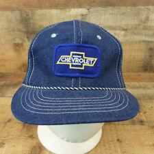 Chevrolet Denim Hat Cap Trucker Patch Chevy Bowtie Farmer Snapback Blue