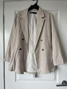 Zara Stripe Linen Blazer Small