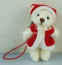 """2"""" Christmas Gift Doll Santa Claus Beige Teddy Bear Plush toy Ornament Key Clip"""