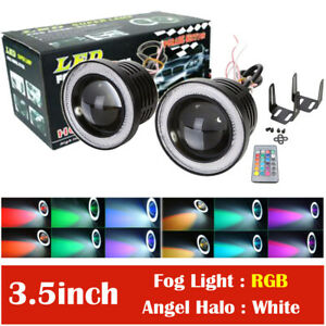 "2x 3.5"" RGB LED Projector Fog Lights Driving w/ White COB Angel Eyes Halo Rings"