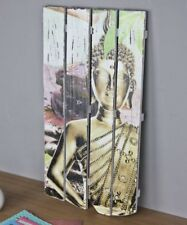 Mural Buda Blanco Negro MADERA CUADRO Letrero 60x32 impresión de colores LIENZO
