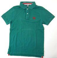 Tommy Hilfiger Poloshirt Polohemd Herren Gr.M grün uni Piquè -S1019