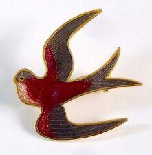 A 1980s GOLD TONE CLOISONNE ENAMEL BIRD BROOCH