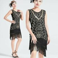 US STOCK Vintage Black and Gold Unique 1920s Flapper Dress Long Fringed Gatsby