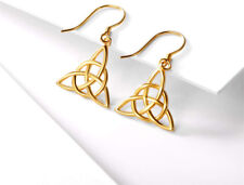 Irish Celtic Knot Triangle Dangle Earrings Gold Plated Sterling Silver Good Luck