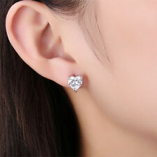 18k White GOLD Stud Silver Heart Shape Simulated Diamond Earrings Valentines