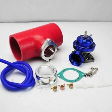 """BLUE TURBO CHARGED TYPE-RS BOV BLOW OFF VALVE +3"""" RED SILICONE COUPLER ADAPTER"""