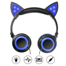 Kids Foldable LED Flashing Cat Ear Headphone Gaming Headset Stereo for Tablet PC Pink