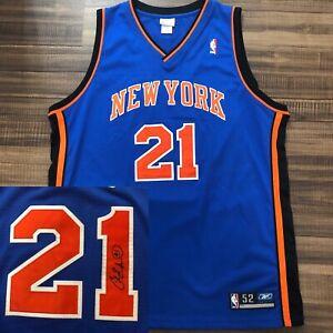 Reebok Authentic Autographed Charlie Ward New York Knicks NBA Jersey FSU Blue 52